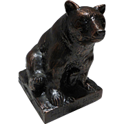 Vintage Cast Metal Copper Grizzly Bear Bank by Banthrico