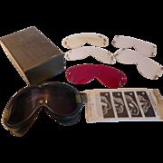 World War II, U.S. Military Goggles 1944 In Box 3 Lenses for Aviation, Flight ...