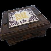 Talavera Tile Carved Wood Jewelry Trinket Box - Mexico