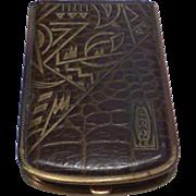 Mondaine Leather Art Deco Style Book Powder Compact