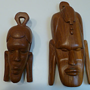 Vintage Hand Carved African Tribal Heads Wood - Kenya