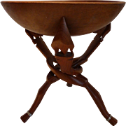 Tribal African Carved Wooden Tripod Table Stand & Bowl