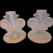 Fostoria Coronet-Clear Single Light Candlesticks PAIR