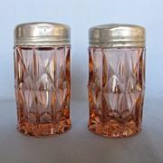 "SOLD Depression Glass Pink Windsor ""Windsor Diamond"" Shakers"