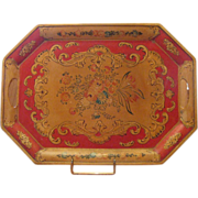 Occupied Japan Hand Painted Paper Mache Serving Tray