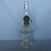 SOLD Large Bull's-eye Foot And Shoulder Miniature Oil Lamp