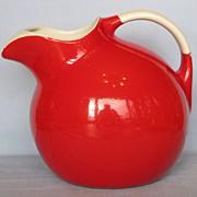 """SOLD Hall China Red Kitchenware Ball jug, #3, """"No Blue"""""""