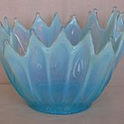 SOLD Fostoria Glass Blue Opalescent Heirloom Handkerchief  Shape Bowl