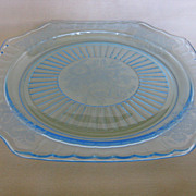 Depression Glass Blue Mayfair Dinner Plate