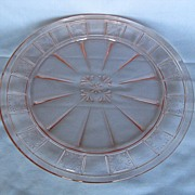 Depression Glass Pink Doric Dinner Plate