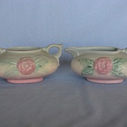"""Hull Pottery Camellia """"Open Rose"""" Creamer and Sugar"""