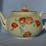 Hall China Orange Poppy Boston Teapot