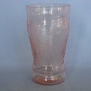 """SOLD Depression Glass Pink Normandie """"Bouquet And Lattice""""  Iced Tea Tumbler"""