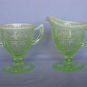 Imperial Glass Green Opalescent Beaded Block Cream And Sugar