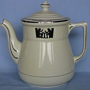 "Hall China Silhouette Coffee Pot ""Medallion"""