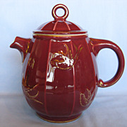 Hall China Novelty Teapot - Birdcage Maroon with Standard Gold