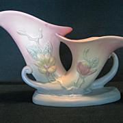 Hull Pottery Magnolia Double Cornucopia, 6-12