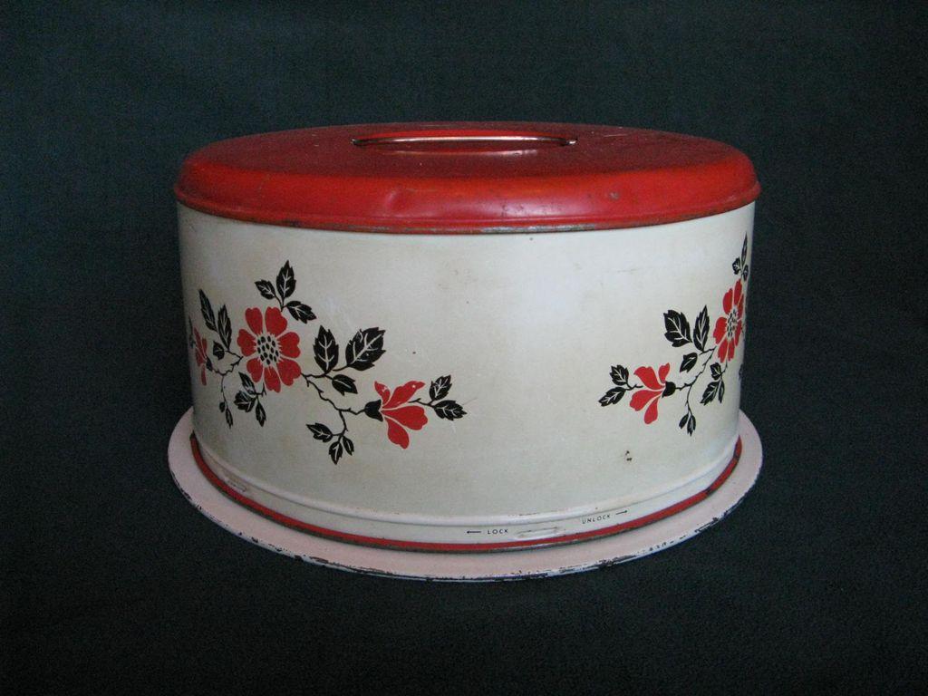Hall China Red Poppy Metal Cake Safe