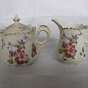 Lefton China Hand Painted Spring Bouquet Butterfly Creamer & Sugar