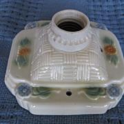 Porcelier Single Ceiling Basket Weave Light Fixture With Flower Design