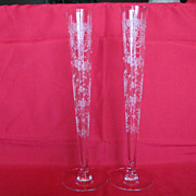 SOLD Tiffin Glass Cherokee Rose Tapered Bud Vases - Red Tag Sale Item