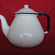 Enamelware White Trimmed in Black 6 Cup Teapot