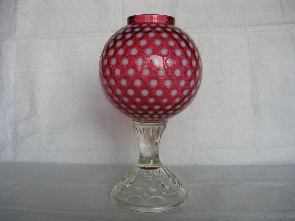Fenton Polka Dot Cranberry 1955-56 Ivy Ball, Footed