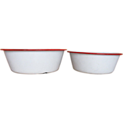 Set of 2 Enamelware Pans or Bowls