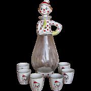 National Potteries Vintage Clown Decanter & 6 Shot Glasses - 1958