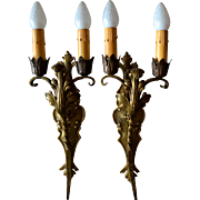 Spanish Revival style, large double candle, solid brass sconces.