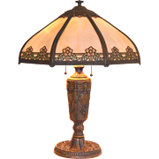 REDUCED Slag Glass Panel Lamp with Painted Shade Accents