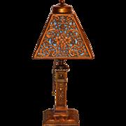 Ornate Slag Glass Boudoir Lamp