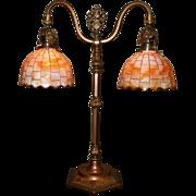 REDUCED Tudor Style Double Arm Table Lamp with Slag Glass Shades