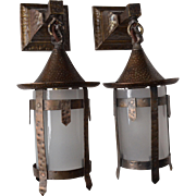 Pair of Arts and Crafts Sconces with Glass Cylinder Shades