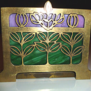 REDUCED Arts and Crafts/Art Nouveau Expandable Book Rack With Slag Glass Inserts