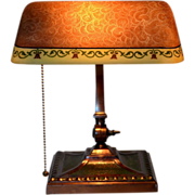 Signed Verdelite Desk Lamp with Obverse Painted Shade