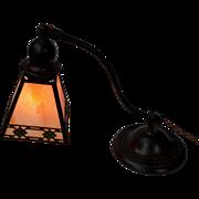 REDUCED Handel Arts and Crafts Decorated Slag Glass Desk Lamp