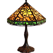 REDUCED Arts and Crafts Style Slag Glass Lamp by J.A. Whaley