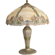 Slag Glass Panel Lamp with Beautiful Painted Accents
