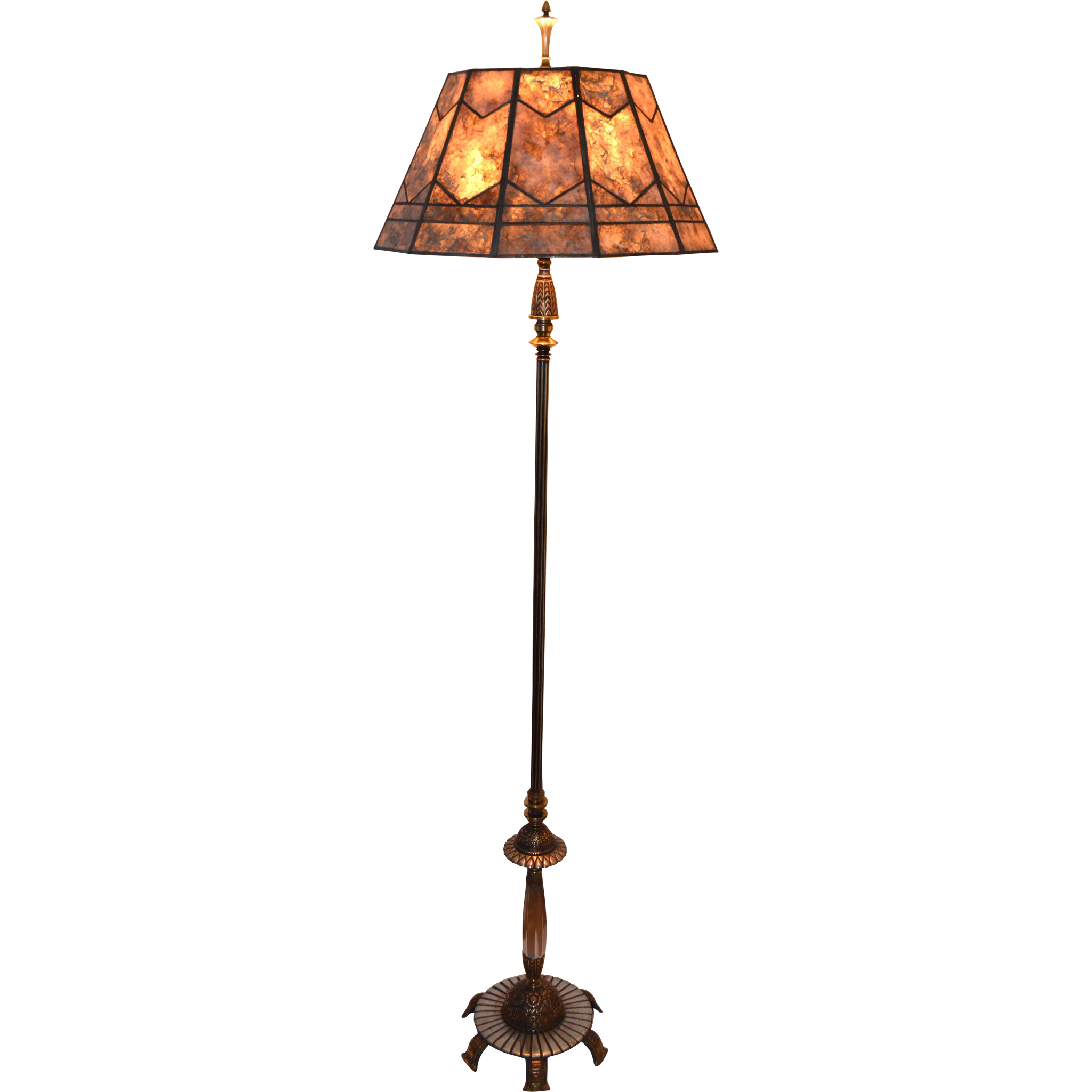 art deco floor lamp with period leaded mica shade from. Black Bedroom Furniture Sets. Home Design Ideas