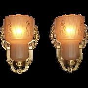 Pair of Art Deco Slip Shade Sconces, Signed Lightolier