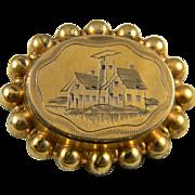 Stunning Gold Filled Locket Pin  Circa 1860-1880