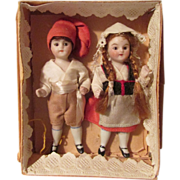 Holiday Sale! Tiny Pair of All-Bisque Dolls Attributed to Kling in Original Box!