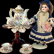 SOLD RARE Miniature Porcelaine de Paris Tea Set With SERVING TRAY for your French Doll!