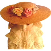 Found in PARIS!  Lovely Straw, Floral and Be-Ribboned Chapeau for Your Doll!