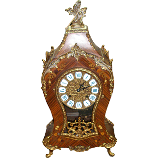 SALE Cyber Monday Franz Hermle Gilt Bronze and Wood Inlaid Vintage Clock in French Rococo Style!