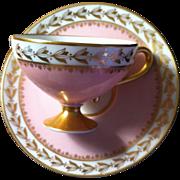 SALE HUTSCHENREUTHER PEDESTAL DEMITASSE CUP/SAUCER IN DELICATE PINK WITH GILT TRIM