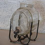 SOLD French Glass Keg Liquor Dispenser
