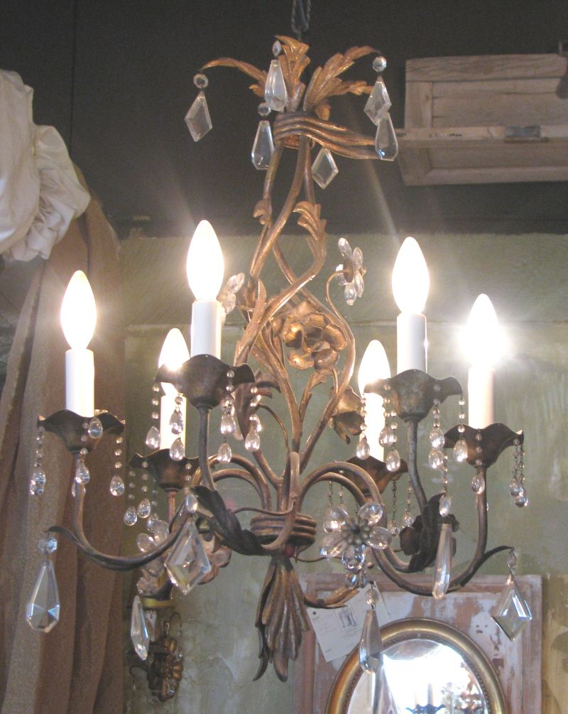French Vintage Crystal & Gilt Chandelier