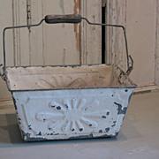 French vintage metal embossed basket
